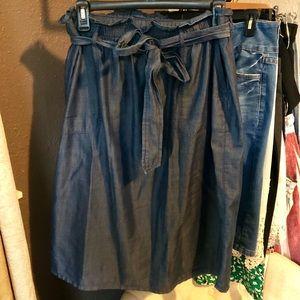 Light blue paper bag skirt